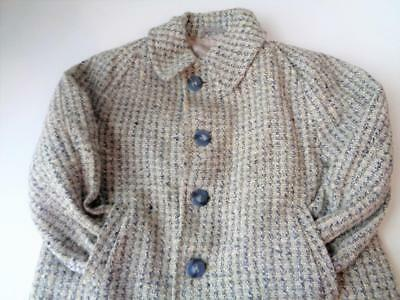 Vintage 1940s Boys Lined Wool Blazer Jacket Coat Size 4-5 Childrens Rayon Gray