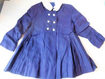 Vtg 1940s Kute Kiddies Classic Girls Coat Double Breasted Size 3-4 RAYON Navy Bl