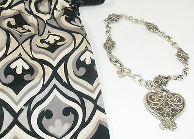 Brighton Silver Plate Heart Flower Bracelet Fabric Pouch Nwot