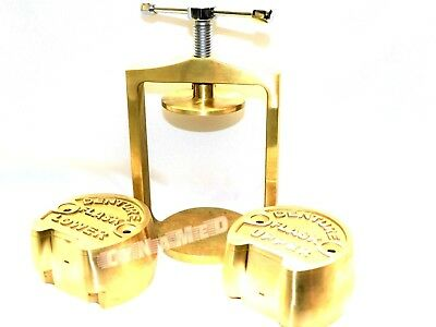 Dental Laboratory Spring Press Compress With Two Flask Original Brass - 3 Pieces