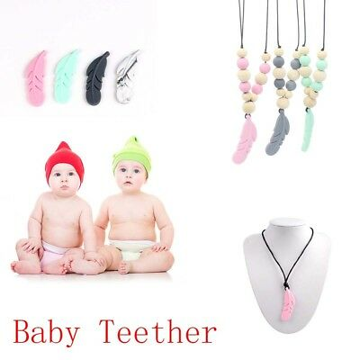 10 Pcs Baby Teether Silicone Feather DIY Jewelry Teething Necklace Baby Nursings