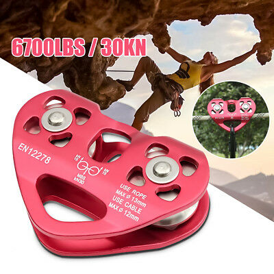 30N Rock Climbing Dual Pulley Zip Line Cable Trolley Fast Speed Military Outdoor
