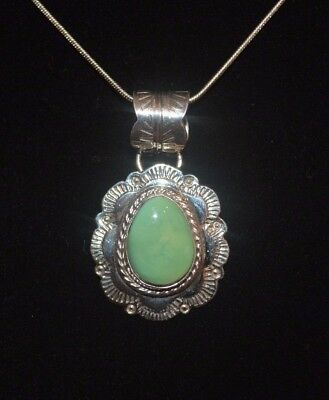 Necklace Turquoise Native American Royston & Sterling Silver By Navajo Artist AJ