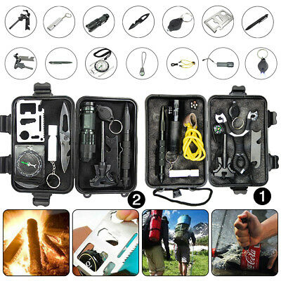 Outdoor Emergency Survival Kit Travel Hiking Camping SOS Survival Tool Box Pack