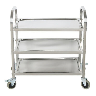"32"" x 16"" x 32"" Stainless Steel Commercial Three 3 Shelf Utility Kitchen Cart US"