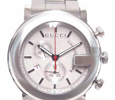8df710868f6 Pre-Owned Gucci G Round YA101406 Quartz All SS Silver White Women s Watch
