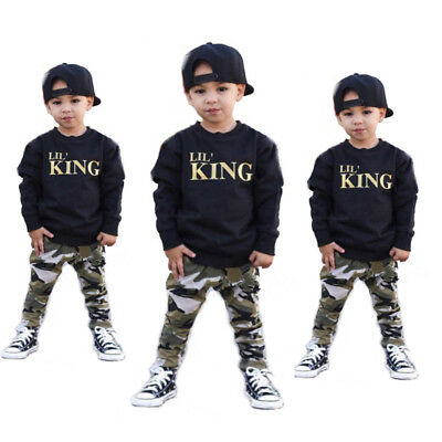 AU 2pcs Toddler Infant Baby Boy T-shirt Top+Camouflage Pants Outfits Clothes Set