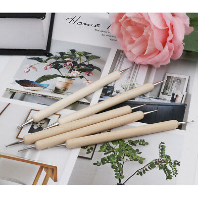 WoodEN 5 Pieces Ball Stylus Tools Dotting Sculpting Modeling Tools Clay Ceramics