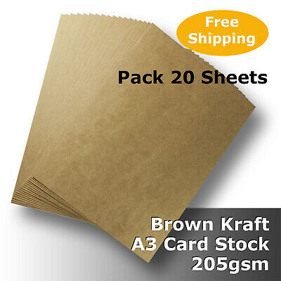 20 Sheets Kraft Brown ReCycled Enviro Card A3 Size 205gsm #S0168