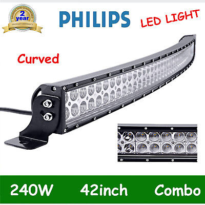 Curved 42Inch 240W Led Work Light Bar Spot Flood Jeep 4Wd Tractor Offroad 40/44""