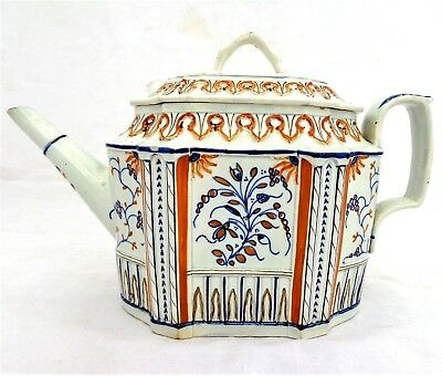 Antique Silver or Commode Shape Pearlware Prattware Teapot George Taylor c 1800