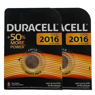 2 x Duracell CR2016 DL2016 3V Lithium Coin Cell Battery Long Lasting 2016