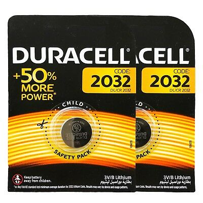 2 x Duracell CR2032 DL2032 3V Lithium Coin Cell Battery Long Lasting 2032