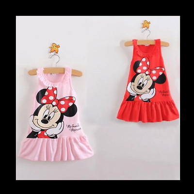 Girls Toddlers Disney Minnie Mouse Tunic Summer Dress  Minnie  Pink Or Red €9.99