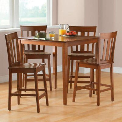 Counter Height Dining Set 5 Piece Cherry Table Chair Seat Kitchen Furniture  New