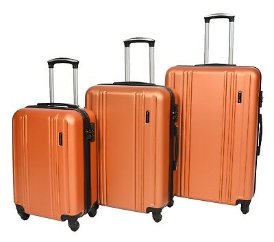 cdab9de3549 Hard Shell ABS 4 Wheel Spinner Suitcase Travel Luggage Lightweight Orange  Bags