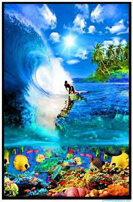 Surf Reef - Blacklight Poster - 23X35 Flocked Ocean Surfing Tropical 1983