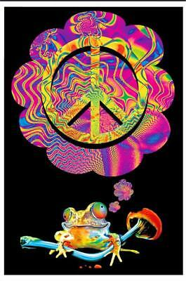 Mushroom Peace - Blacklight Poster - 23X35 Flocked Smoking 1984