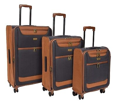 4 Wheel Spinner Soft Faux Suede Suitcase Travel Lightweight Luggage Navy Blue