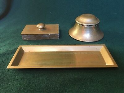 Antique BRADLEY & HUBBARD 3-piece BRASS Desk Set: Ink Well, Ink Blotter, & Tray