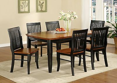 Two Toned Designed 7pc Dining Set Antique Oak & Black Finish Table Side Chairs