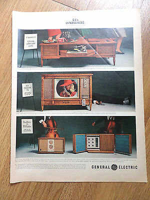 1963 General Electric GE Ad Coffee Table Stereo Color Television & FM Radios