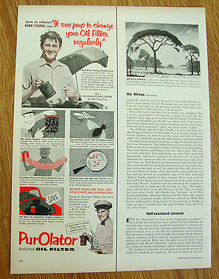 1953 Purolator Oil Filter Ad Movie Hollywood Star Alan Young