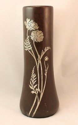Antique  Heintz Arts & Crafts Sterling On Bronze Silver Vase 12 5/16 Tall