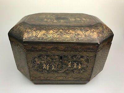 An Chinese Antique Lacquered Wood Box 19th Century
