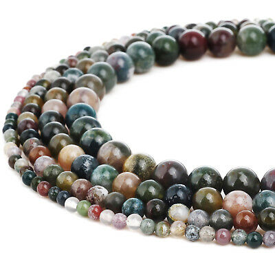 RUBYCA Natural Indian Agate Gemstone Round Loose Beads Jewelry Making 4mm-10mm