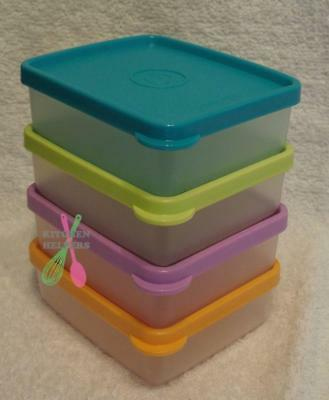 Tupperware Mini Square Away/Snack on the Go Square Containers 160ml Pastel - New