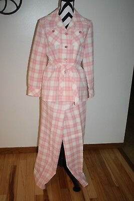 VINTAGE Womens Pink Plaid Polyester Belted 2pc Pant Suit L/XL Funky Retro 1950's