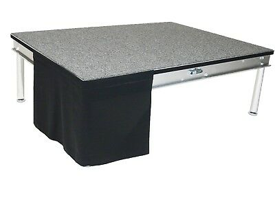 """Stage Skirting 16"""" High Black Flat No Pleat Flame Retardant Polyester. In Stock!"""