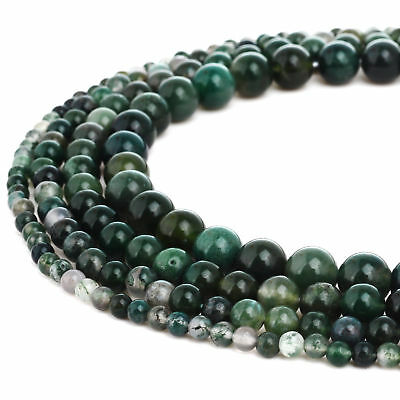 RUBYCA Natural Moss Agate Gemstone Round Loose Beads DIY Jewelry Making 4mm-10mm