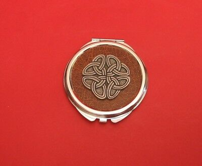 Celtic Knot Brown Faux Leather Top Compact Mirror Mother Daughter Celtic Gift