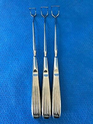 "Lot of 3 Karl Storz N-6020 Angled Adenoid Curettes, Sizes 0-2, L: 8.5"", ENT, O/R"