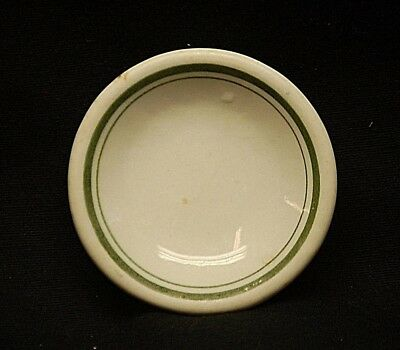 Old Vintage Restaurant Ware Butter Pat White w Green Bands Decorative Tableware