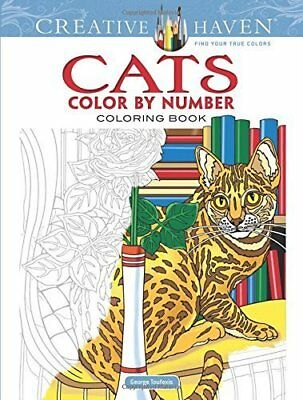 Creative Haven Cats Colour By Number Adult Colouring Book Kitty Kitten Cute