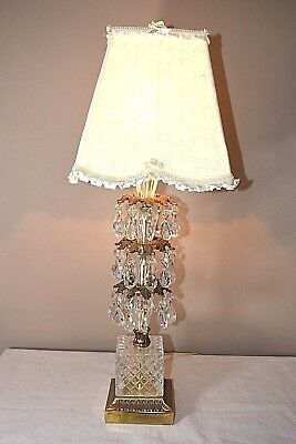 Chandelier Parlor Table Lamp Brass Glass Base Prisms Vintage