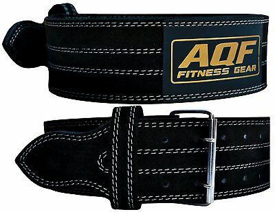 """AQF Weight Lifting Nubuck Leather Power Belt Back Support Strap Gym Training 32"""""""