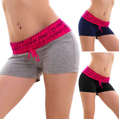 shorts woman shorts sport fitness hearts pink cotton hot pant new B7287