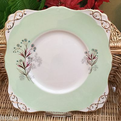 TUSCAN 1940s SQUARE CAKE PLATE - SEAFERN - GREEN GILDED FINE ENGLISH BONE CHINA