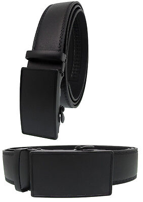 Men Genuine Leather Automatic Ratchet Click Lock Matte Black Buckle Belt