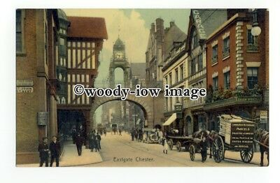 tq2440 - Cheshire - L.&.N.W.R. Parcel Cart on Eastgate Street, Chester- Postcard