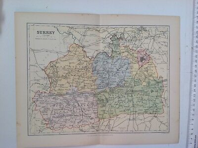 Surrey,  Antique County Map c1897, Brabner, Atlas, Weller, England