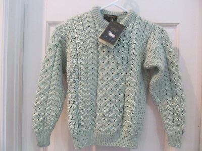 Carraig Donn Merino Wool NWT Ireland Childs Large lt green Aran pullover sweater