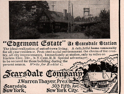 Ad Lot Of 2 Early Ads Edgemont Estate Scarsdale Station