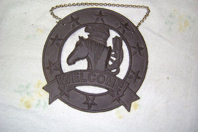 """8.5"""" Cast Iron Horse Head Welcome Sign -  Rustic Vintage Look With Chain"""