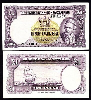 New Zealand NZ  1 Pound - Fleming ND (1956-67) w/ Thread P. 159d Fine Note