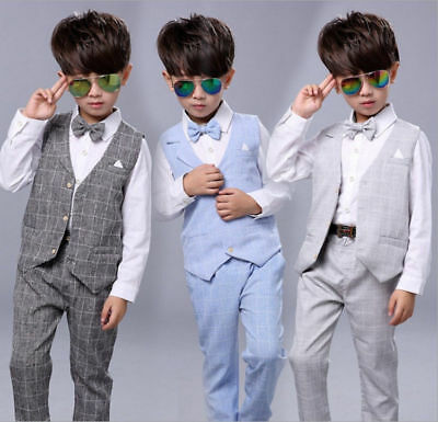 Boys Suits 4Pcs Formal Toddler Baby Kid Waistcoat Suit Wedding Party Outfits